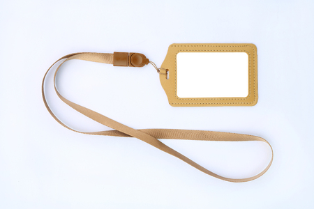 Blank badge cards and lanyards on white background