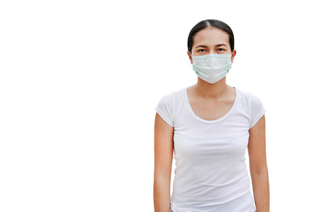 woman wearing a protective mask isolated on white background