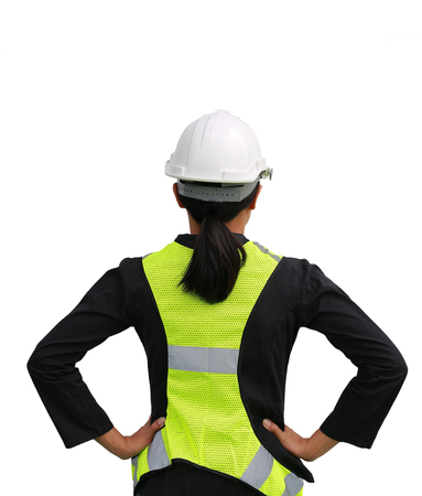 Back view of female construction worker isolated on white background