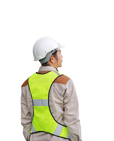 Back view of Male construction worker isolated on white background