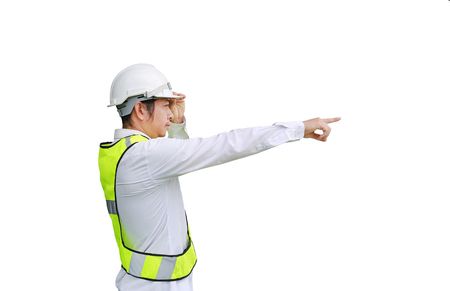 Male construction worker pointing isolated on white background