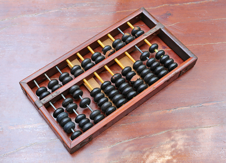 Chinese ABACUS old antique calculator retro finance education, tool work business accounting Stock Photo
