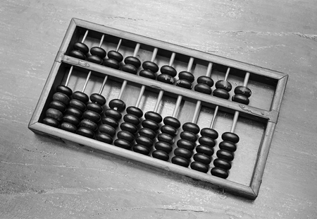 Chinese ABACUS old antique calculator retro finance education ,tool work business accounting, Black and white style