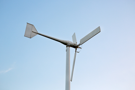 Wind turbine blade at blue sky. Archivio Fotografico