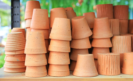 Earthenware clay. Flower pot for plant (terracotta) Stock Photo