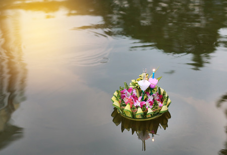 Loy Krathong festival, Krathong floating in pond for forgiveness Goddess Ganges to celebrate festival in Thailand.