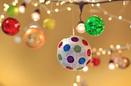 Ornament ball hanging during holiday season.