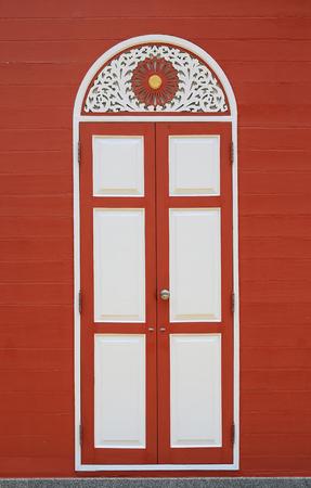 Retro style wooden door house.