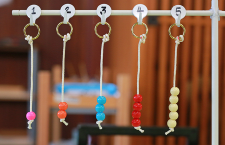 Education toy for kids count the number. Hanging learning object.