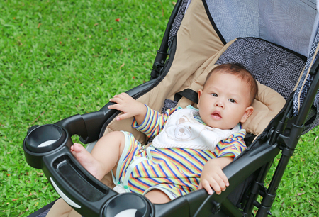 6 months little Asian baby boy sitting in the stroller at the green garden. Stockfoto