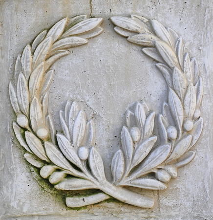 Floral ornament sculpture on stone. Stockfoto