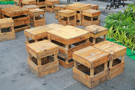 Temporary wood table and stool at street food. Thailand.