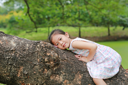Adorable little child girl climb and resting on big tree trunk in the garden outdoor. Stock Photo