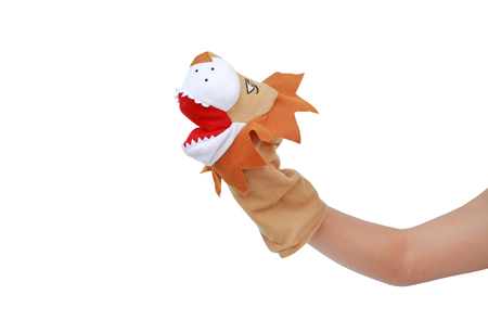 Hand wearing Lion puppets isolated on white background, Lion head.