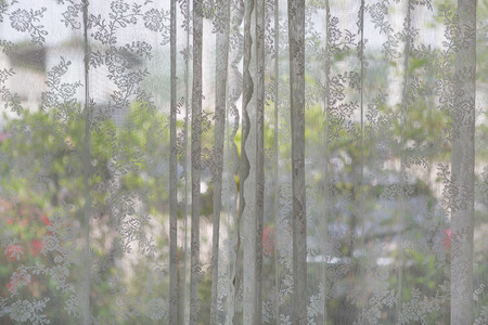 The lace curtain at a glass window.