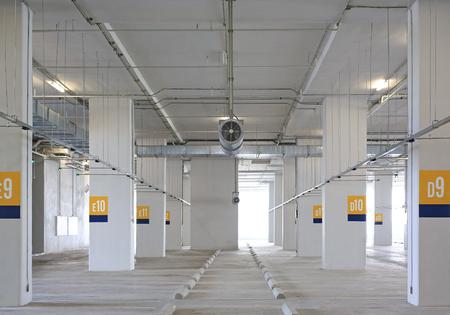 Empty parking lot with Ventilators.