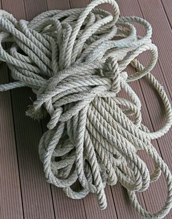 Roll up nylon rope and knot