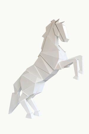 A wooden horse isolated on white background