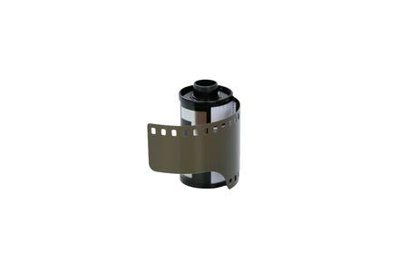 Analog film camera on white background Stock Photo