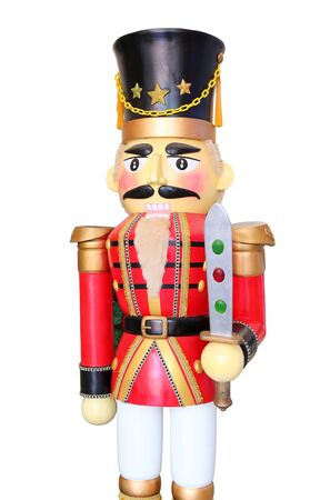 Red soldier nutcracker on white background Stock Photo