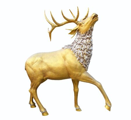 A golden deer statue isolated on white background
