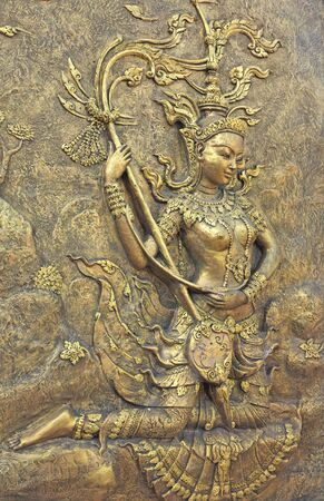 Native culture Thai sculpture on the temple wall, Black and white