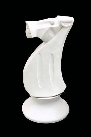 White horse chess isolated on black background