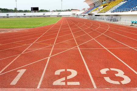 Nummers op atletiekbaan Stockfoto