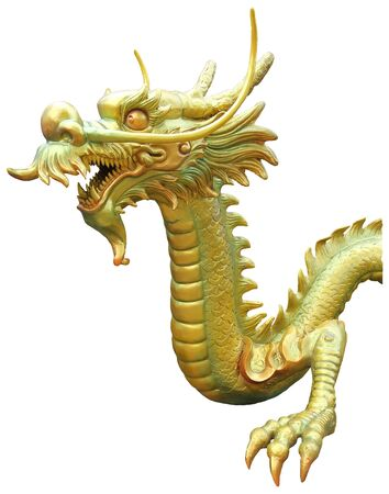 Golden dragon head statue isolated on white background.