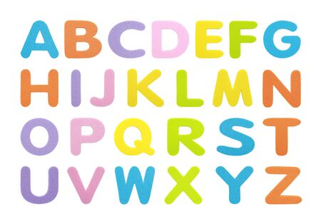 Set collection alphabet in multi colored bold letters isolated on white background. Banco de Imagens