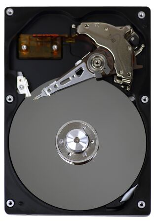 Hard disk drive (HDD) with top cover open isolated on white background Banco de Imagens