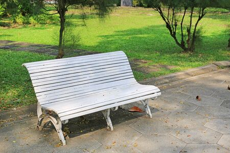 White chairs in the public park. Stock Photo