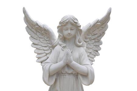 Statue di angelo isolate su priorità bassa bianca. Archivio Fotografico