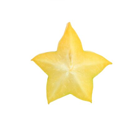 Gesneden en rijpe ster appel geïsoleerd op een witte achtergrond. Stockfoto