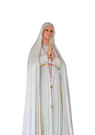 Statue of Virgin Mary in Roman Catholic Church isolated on white background.