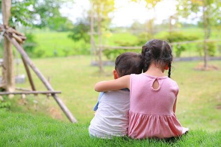 Older sister hugs little brother by the neck, shoulders sitting on green grass field. Two adorable Asian children sitting and hugging the neck rear view.
