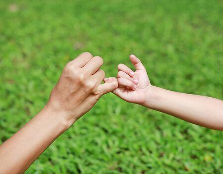 Madre e figlia che fanno una promessa da mignolo nel giardino di erba verde.