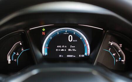 Modern car illuminated dashboard