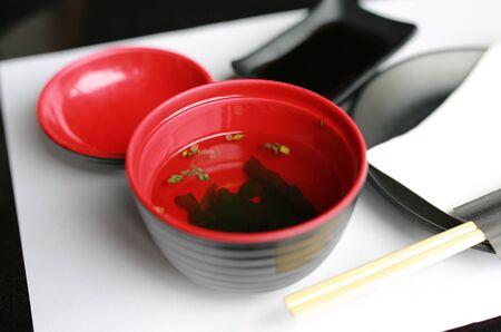 Served japanese style soup misoshiru with fresh seaweed 写真素材 - 129761099
