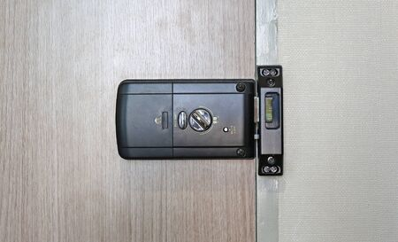 Back side of an electronic door lock room. Banco de Imagens