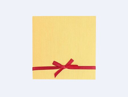 Empty card with a ribbon on white background.