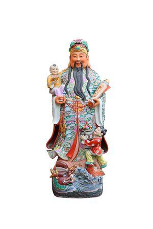 """Dieux porte-bonheur chinois, statues Hock ou Fu """"Dieu de la richesse"""" sur fond blanc, Dieu de la fortune (Fu,Hok) Banque d'images"""