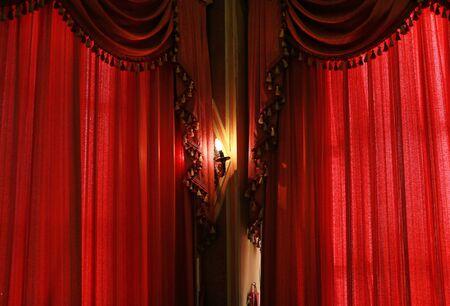 Tekstura czerwonej tkaniny kurtynowej
