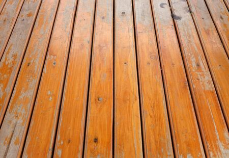 Polished brown wood plank wall background. Stock Photo