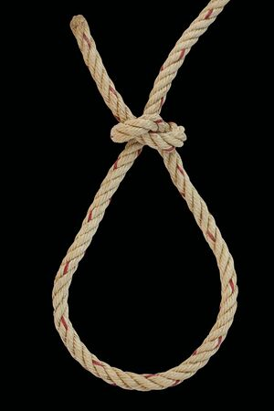 Rope knot isolated on black background Banque d'images