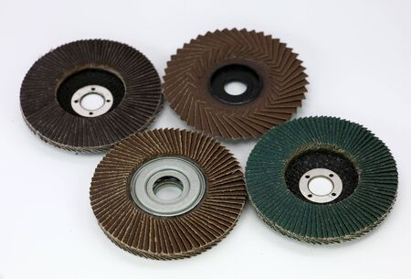 Group Abrasive disk for grinder on white background