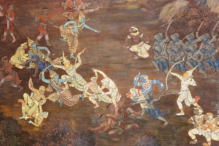 masterpiece of traditional Thai style painting art old about Ramayana story on temple wall at Watphrakaew, Bangkok,Thailand