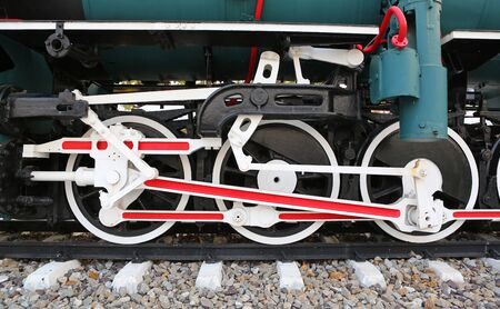 Mechanical part and wheels of the retro steam locomotive, retro style
