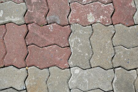 Brick pavement tile texture background. top view.