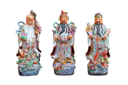 Three gods of Chinese people isolated on white background, Hock Lok Siew or Fu Lu Shou 版權商用圖片